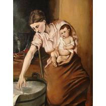 Oleo Sobre Lienzo Escuela Francesa Del Siglo Xix Maternidad