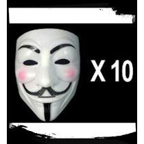 Mascara V Venganza Cotillón Disfraz Careta Anonymous X 10!!