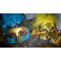Mascara Veneciana Con Plumas Y Luz