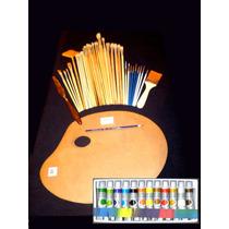 Acrílicos Paleta Pinceles Espátula Para Pintura Y Arte