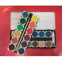 Set De Acuarelas X 24 Pastillas + Pincel + Pomo Color Blanco