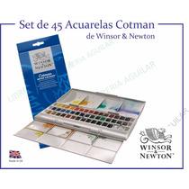 45 Acuarelas Pastilla Cotman Winsor & Newton Estuche Caja