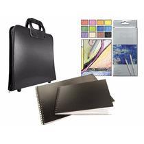 Kit Artístico Portafolios Caja Lápices X12 Block Calidad