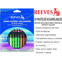24 Pasteles Acuarelables Reeves Crayon Water Soluble