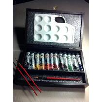 Caja De Pintor Acrilicos Primera Marca, Paleta Y Pinceles