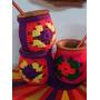 Mates De Madera Con Funda Crochet