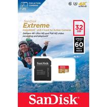 Memoria Sandisk Extreme 32gb Gopro 4k Full Hd C 10 U3 60mbs