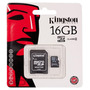 Memoria Kingston Microsd 16gb C/adaptador Sd Clase 4 Blister