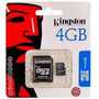 Memoria Kingston Micro Sdhc Clase 4 4gb Blister Gtia. 1 Año