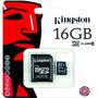 Memoria Kingston Micro Sd Hc 16gb Clase 10 Hd Megatronic