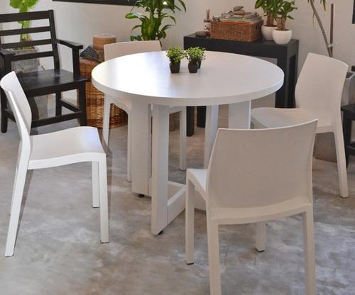 Mesa comedor madera cuadrada laqueada cocina moderna - Mesas redondas modernas ...
