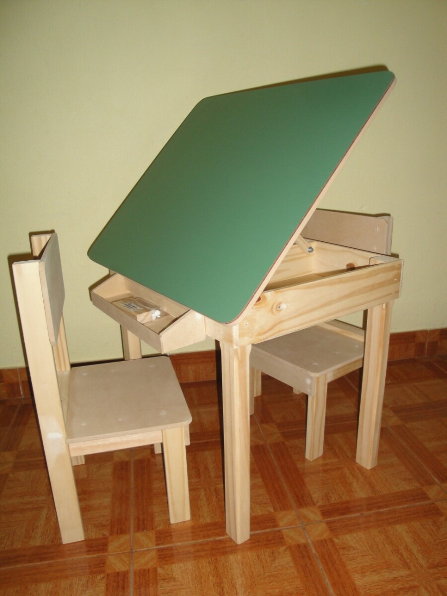 Mesa pizarron con tapa y sillas infantiles 610 00 en - Mesita con sillas infantiles ...