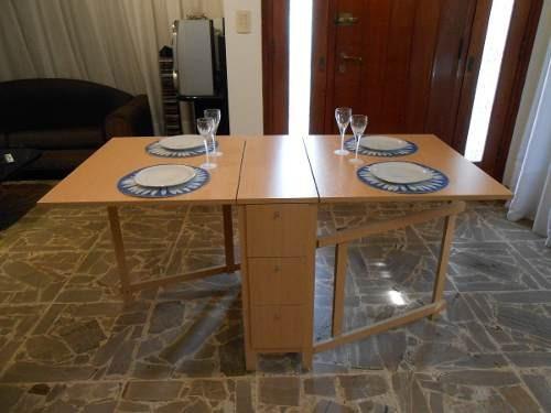 Mesas plegables de madera para comedor images for Mesa comedor plegable