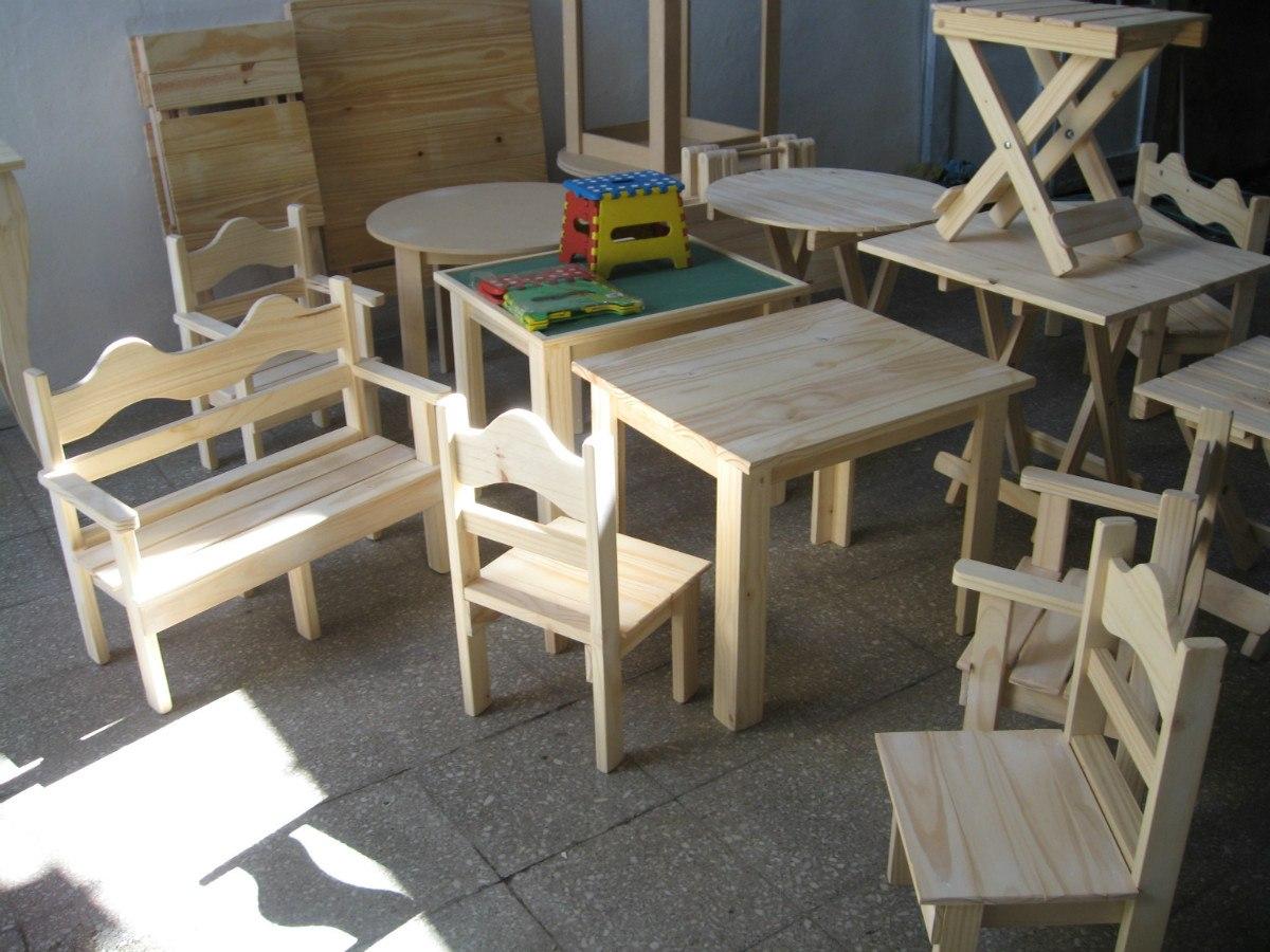 Mesitas de madera para ni os imagui for Medidas sillas ninos
