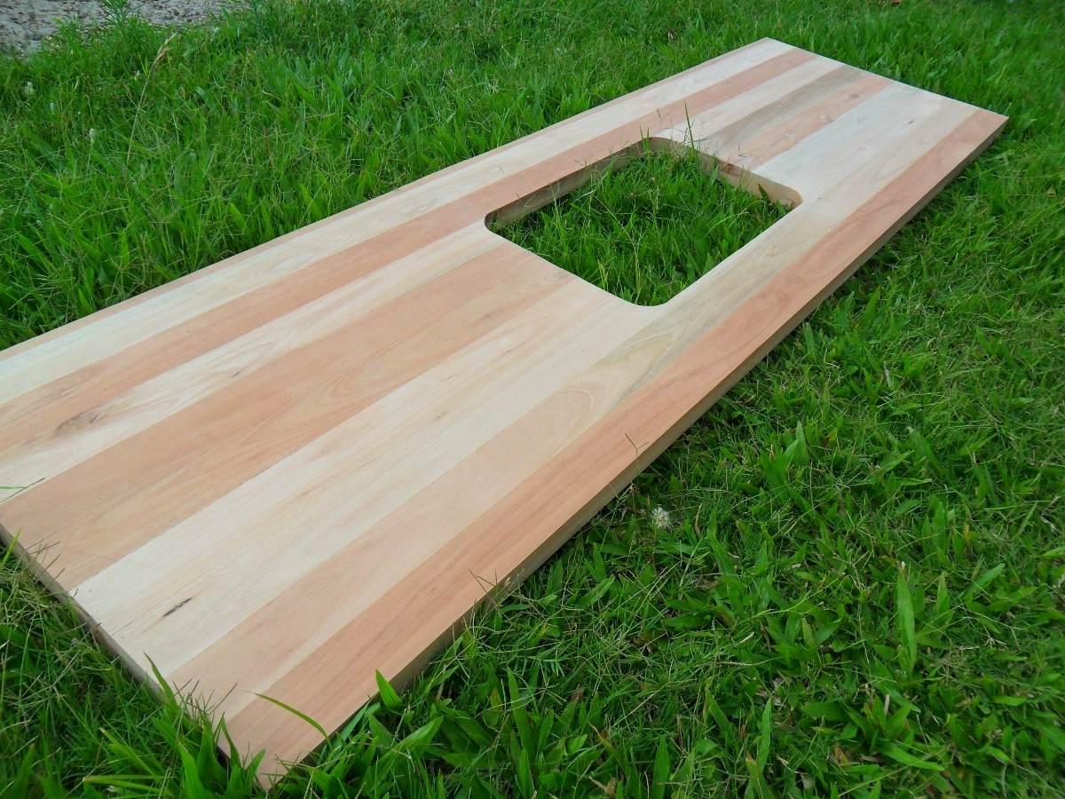 Mesada cocina barra desayunador tabla de madera pasaplato for Mesada de madera para cocina
