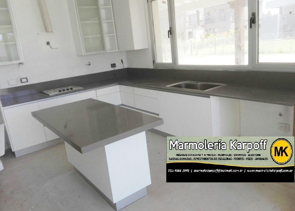 Mesadas cocina granito marmoles silestone quartz san for Granito o silestone para cocinas
