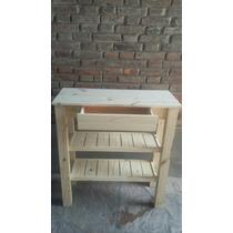 Mesa De Arrime Pino Macizo Con 2 Estantes Tipo Deck + Cajon