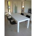 Mesa Comedor Laqueada Madera Blanca Moderna 1.00 X 0.70 Cm