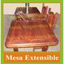 Mesa De Algarrobo Extensible De 1.60 A 2.00mts