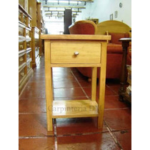 Mesas De Luz 1 Cajón En Guatambu Lustre Roble /carpinteriadm