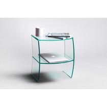 Mesa De Luz En Vidrio 10mm! Diseño Exclusivo! Envío Incluído