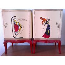Par Mesas Luz Frances Luis Xv Pintadas A Mano T. Lautrec
