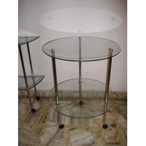 388-mesa De Diseño Doble Plano Cromada Con Cristales Ruedita