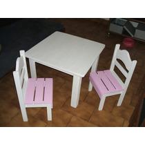 Mesa Infantil 60x60 Cm+ 2 Sillas De Pino Pintadas/barnizadas