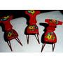 Antiguo Lote Sillas Chapa-casa Muñecas-maqueta-juguete