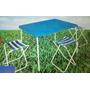 Mesa Camping Plastica Plegable Valija 4 Banquetas Patas Caño