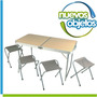 Mesa Waterdog Banquetas Plegable 120x60x70cm Patas Regulable