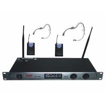 2 Microfonos Inalambricos Uhf Vincha Gbr 300 Profesional