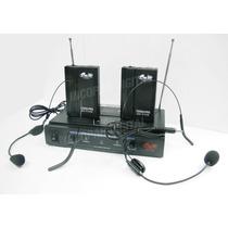Dos Microfonos Inalambrico Vincha Gbr Vhf Pro258 Karaoke