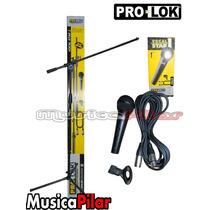 Set Prolok Vocal Star Microfono Soporte Pipeta Musica Pilar