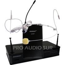 Microfono Inalambrico Lexsen Vincha Color Piel Headset Uhf