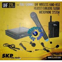 Microfonos Inalambricos Skp Uhf271 4 En 1 Mano Vincha Corbat