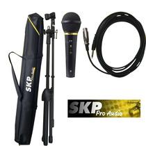 Set Skp M1 Micrófono Soporte Cable 5 Metros Y Funda Karaoke