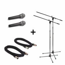 2 Microfonos Prof Samson Q7 Estuche + Pipeta + Soporte Cable