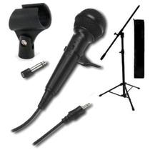 Combo Microfono Dinamico + Pie Plegable Con Cable Karaoke