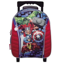Mochila 17 Escolar Con Carrito Avengers 43cm Marvel