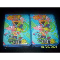 Phineas Y Ferb-cartuchera 1 Piso De Pvc-ideal 1º Grado-mirà!