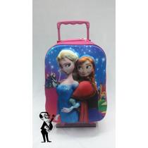 Mochila Frozen 3d Con Carrito Relieve Chica