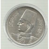 Egipto 20 Piastras 1937 Plata 28 Gramos Rara