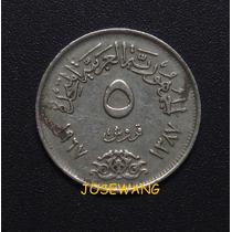 5 Piastres. Moneda De Egipto Del Año 1967 Unico