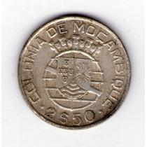 Mozambique 2.50 Escudos De Plata Año 1942 Colonia Portuguesa