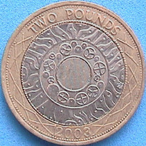 Spg - Gran Bretaña 2 Pounds ( Libras ) 2003 Bimetalica.