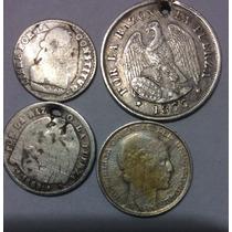 Lote 4 Monedas Plata . Bolivia. Uruguay . Chile