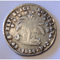 Moneda De Bolivia - 4 Soles - 1856 Fj - Plata - En Mendoza