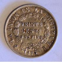 Moneda De Bolivia - 20 Cent - 1875 Fe - Plata - En Mendoza