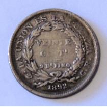 Moneda De Bolivia - 20 Cent - 1892 Cb - Plata - En Mendoza